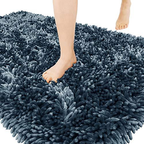 Yimobra Original Chenille Bath Rug Mat, Large Size 44.1 x 24 Inch, Soft Shaggy, Non-Slip Bath Mat, Super Absorbent, Machine Washable and Dry, Bathroom Carpets for Nursery, Bed Living Room, Light Blue