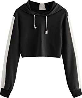 db3c792fd3 SheIn Women's Long Sleeve Drawstring Hoodies Sweatshirt Colorblock Crop Top