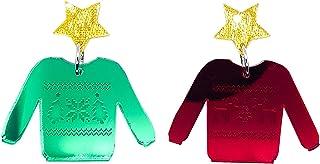 Ugly Christmas Sweater Dangle Earrings (red and Green with Stars), Christmas, Holiday Season Costume Jewellery. Handmade in Australia
