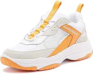 Calvin Klein Jeans Maya Womens White/Fluorescent Orange Trainers