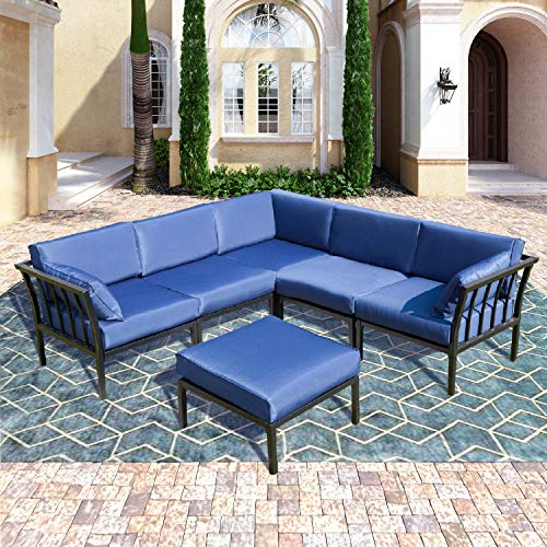 PatioFestival 6 PCS Conversation Set Outdoor Metal Furniture All-Weather Patio Sectional Sofa Set with Cushions for Garden,Lawn,Pool