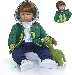 Zero Pam Reborn Baby Boy Dolls Brown Hair Soft Cloth Body Vinyl Silicone Reborn Toddler Boy with Green Dinosaur Clothes&Pl...