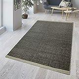 TT Home Alfombra tejida a mano de mezcla de lana y algodón, diseño de panal en negro y gris, tamaño: 140 x 200 cm