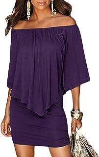 6441814fe69 Sidefeel Women Off Shoulder Ruffles Bodycon Mini Dress