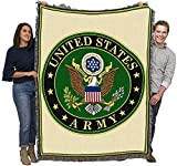 US Army -Military Service Mark Seal - Cotton Woven Blanket Throw - Made in The USA (72x54)