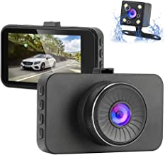 Dual Dash Cam Front and Rear 1080P Full HD Car DVR Dashboard Camera Recorder with Night Vision Car Driving Recorder, 3 inch IPS Screen, 170 Super Wide Angle, G Sensor, Parking Monitor, Motion Detectio