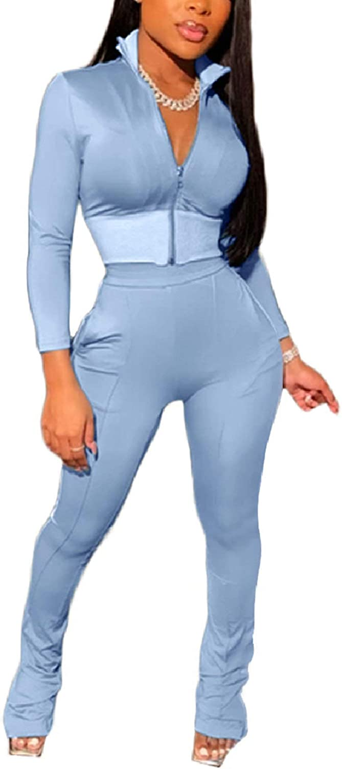 ThusFar Women's Tracksuit Courier shipping free shipping Two Piece Outfits Bodycon Crop Zip-Up Wholesale