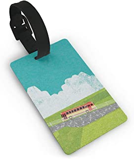 SCcdyhlunsd Paddy Fields and Cars Luggage Tag Suitcase Labels Bag Travel Accessories ID Cards for Luggage Baggage Travel Identifier Luggage Tag