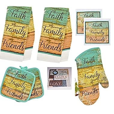 Faith Family Friends Kitchen 8 Piece Set- 2 Towels, 2 Pot Holders, Oven Mitt, 2 Dish Cloths and Bonus Coaster