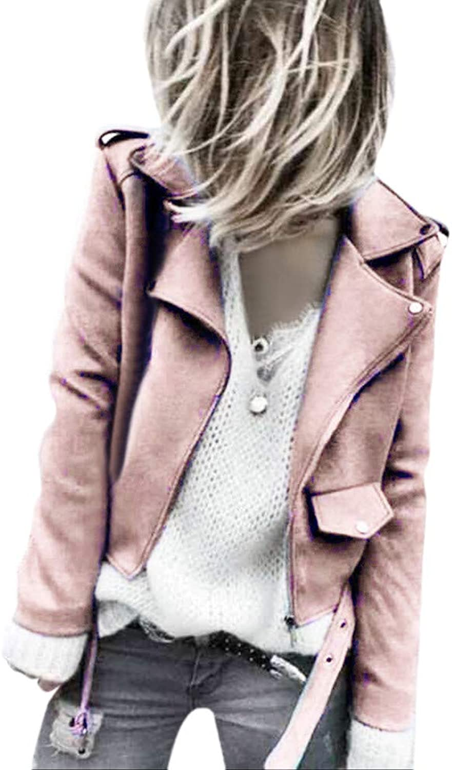 Womens Fashion Sashes Button Solid Zippers Jacket Coat Winter Outwear (color   Pink, Size   XL)