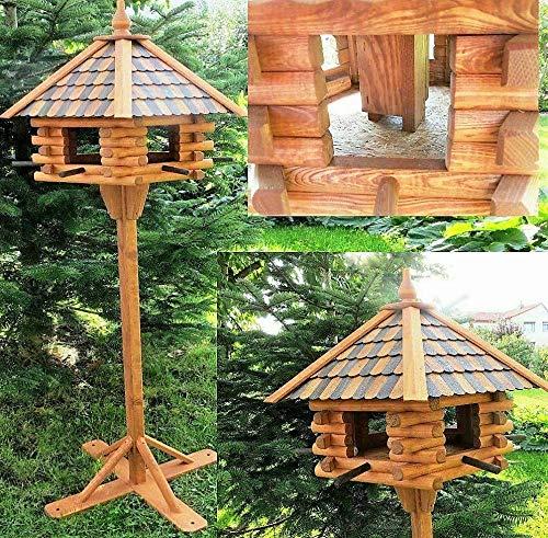 DEKO VERTRIEB BAYERN XXXL Luxus Holz Vogelhaus mit Ständer 170cm hoch 65x55cm Vogelfutterhaus Vogel Futterhaus Vorratsfütterung