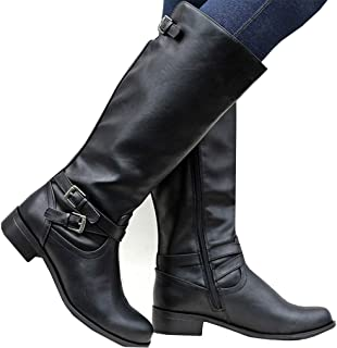 Womens Winter Knee High Boots Riding Military Moto Chunky Low Heel Straps Boots