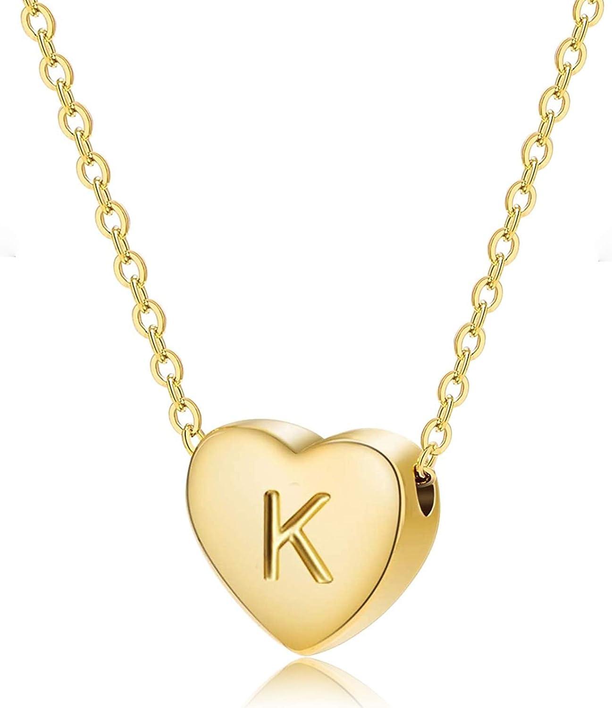 Fashion Heart Initial Necklaces for Women Girls Tiny Initial Necklaces for Women 14K Gold Filled Heart Pendant Letter Alphabet Necklace Kids Heart Letter Initial Necklace Birthday Gifts for Girls (K)