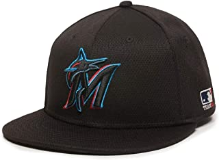 OC Sports Miami Marlins MLB Black 2019 Flat Brim Hat Cap Adult Men's Adjustable