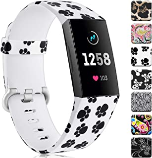 Maledan Compatible with Fitbit Charge 3 Bands Women Men Large Small, Breathable Replacement Pattern Strap Accessories Wristbands Compatible with Fitbit Charge 3 & Charge 3 SE Fitness Activity Tracker