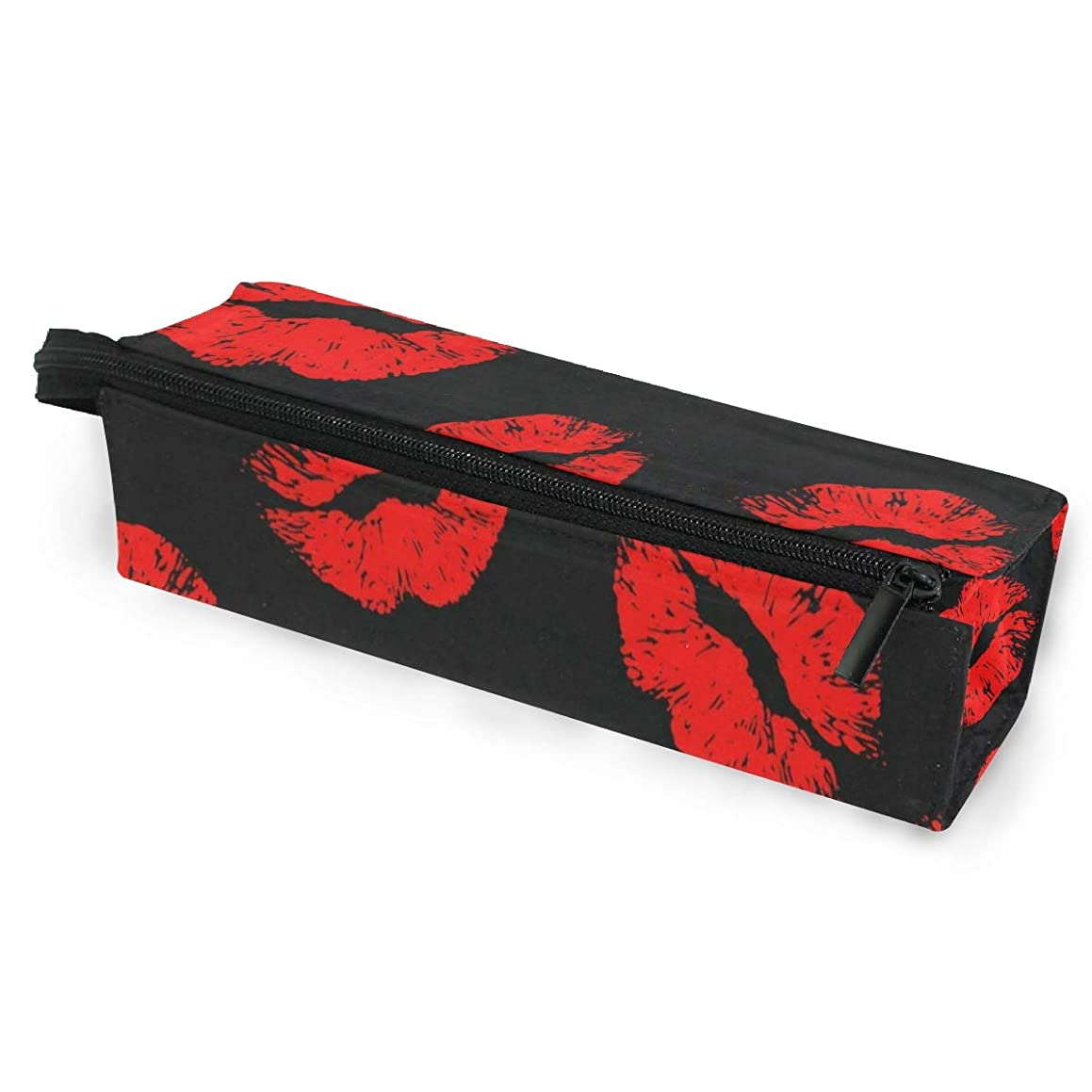 Glasses Case Red Lip Multi-Function Zippered Pencil Box Makeup Cosmetic Bag for Women