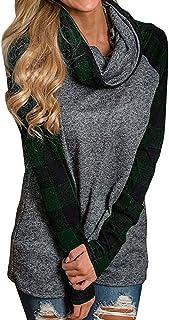 LANSKIRT Jersey de Mujer con Costuras A Cuadros Sudadera Tallas Grandes Deporte Camiseta Tops de Otoño Hoodies Invierno Ca...