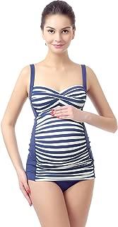 Momo Maternity Bathing Suit UPF 50 Striped Women's Maternity Swimwear Pregnancy Swimsuit