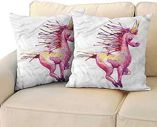 RuppertTextile Fantasy Customized Pillowcase Legendary Unicorn Design Anti-Fading W13 x L13
