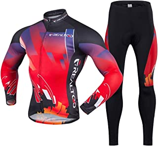 Cycling Skin Suit Spring And Autumn Men's Red And Black Outdoor Sports Long Sleeve Breathable Jersey Moisture Wicking Set