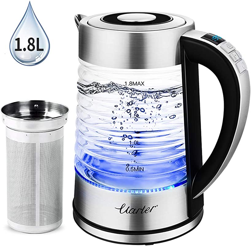 1 8L Electric Glass Kettle 1500W BPA Free Electric Tea Kettle With Adjustable Temperatures Cordless Glass Boiler 1 24H Keep Warm Auto Shut Off Fast Boiling Water Kettle With Blue Light