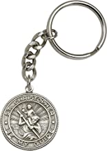 Bonyak Jewelry Antique Silver-Plated St. Christopher Keychain 1 1/4 x 1 1/8 inches