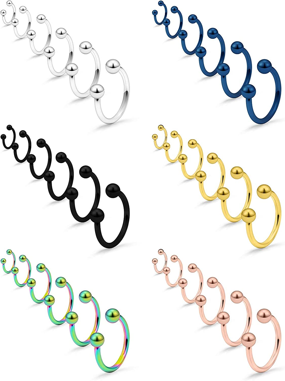 SCERRING 14G Nose Hoop Rings Stainless Steel Nose Horseshoe Hoop Rings Eyebrow Lip Ear Tragus Septum Piercing Jewelry Hanger Retainer 8-19mm 18-36PCS