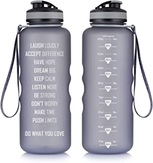 Artoid Mode 48oz Motivational Fitness Workout Sports Water Bottle with Time Marker & Measurements, Goal Marked Times Helps You Hydrate, Flip Top Non Leak Design BPA Free
