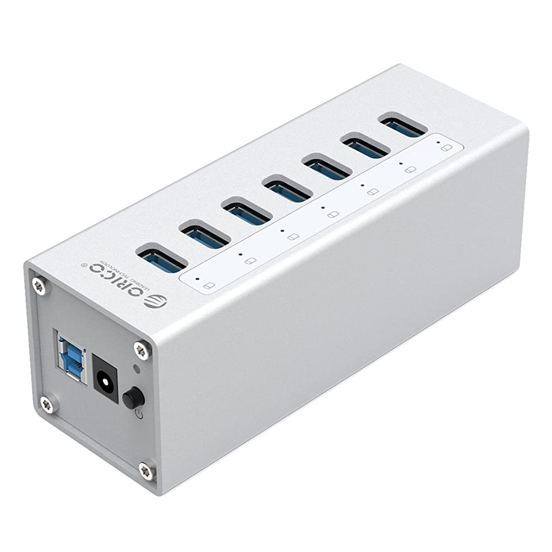 ORICO 7 Port Aluminum USB 3.0 HUB with 12V2.5A Power Adapter and 3.3Ft. USB3.0 Date Cable - Sliver (A3H7)