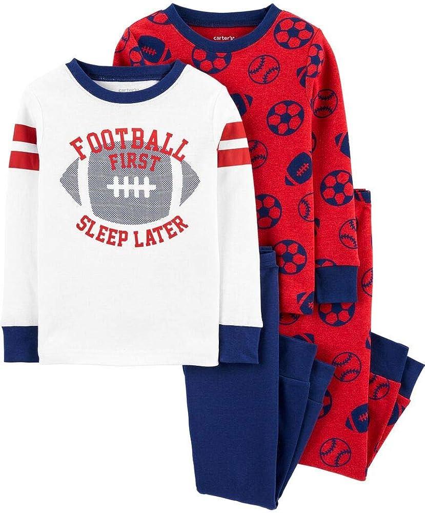 Carter's 4-Piece Boy's Snug fit Cotton Pajamas (Red Football
