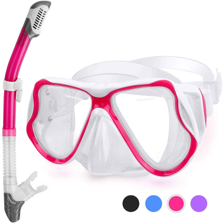 Kuyou Snorkel Set Adults Anti-Fog Dry Snorkel Set,Tempered Glass Scuba Diving