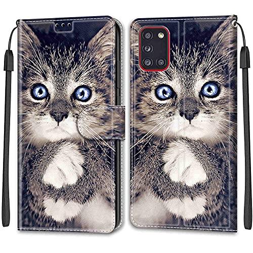 ShinyCase Compatibile con Samsung Galaxy A31 PU Pelle Custodia Magnetica Protettiva Case Anti-Scratch Caso Portafoglio Telefono Custodia per Samsung Galaxy A31,Gatto Nero Occhi Blu