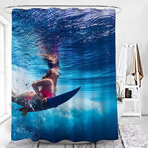 chuanglanja Douchegordijn, waterdicht, anti-schimmel, digitale 3D-print, waterdicht en schimmelresistent douchegordijn van polyester met zwaar lood, 180 x 180 cm