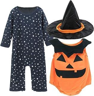 MOMBEBE COSLAND Baby Jungens Mädchens Halloween Kostüm Hexe Kürbis Strampler Set