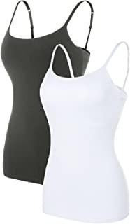 Women's Cotton Camisole Shelf Bra Spaghetti Straps Tank Top 2 Packs