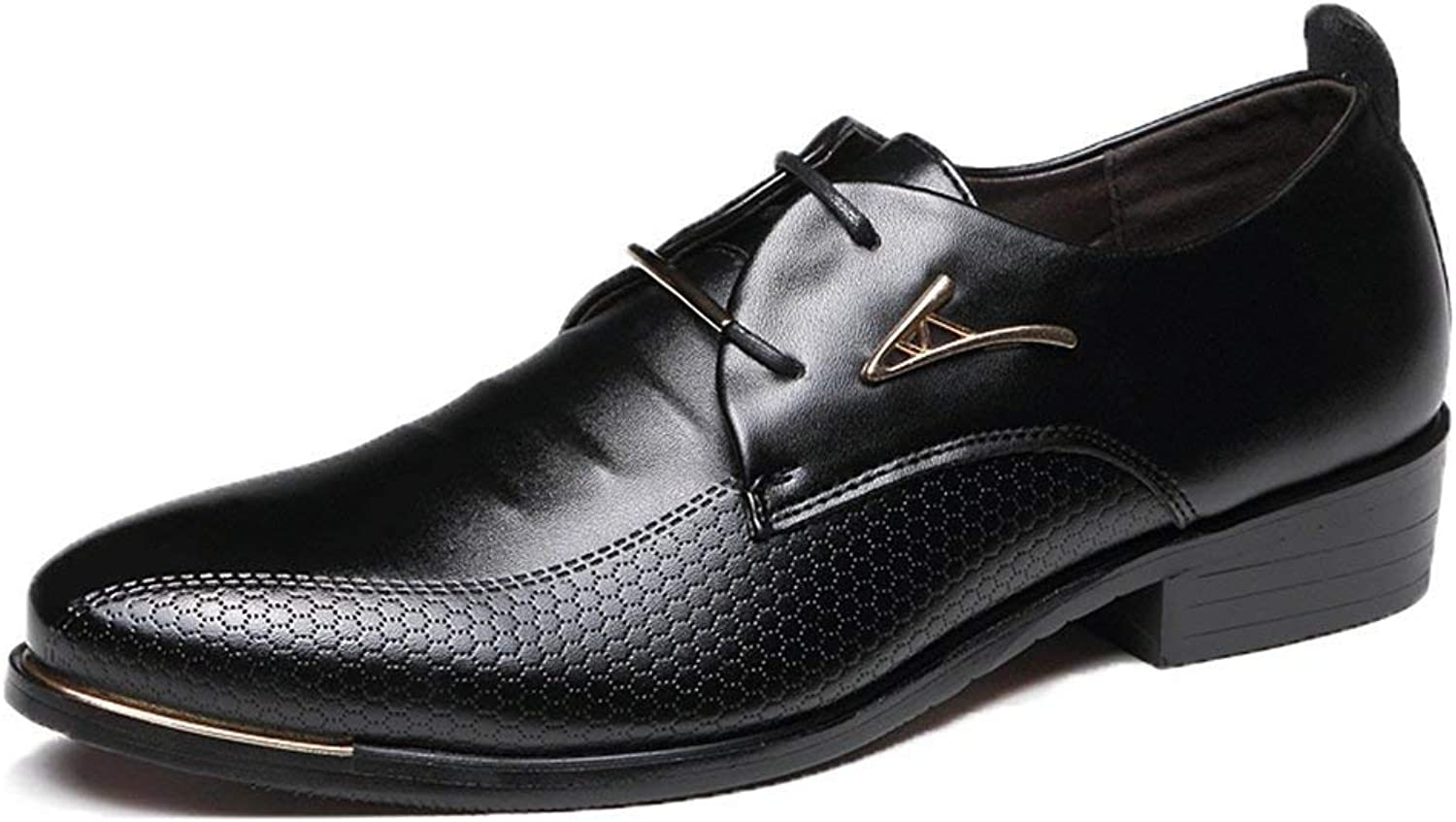 ZHRUI Men Dress shoes Fashion Pointed Toe Business Casual shoes Leather Oxfords shoes (color   Black, Size   7UK=41EU)
