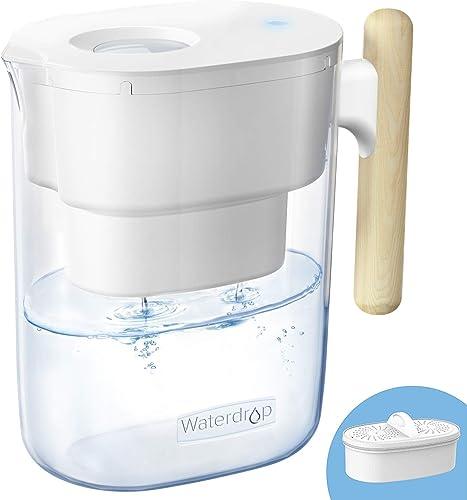 Waterdrop Chubby Cruche de Filtre à eau 3,5 L Certifiée NSF Avec Filtre 1 × 90 Jours, Réduit le Plomb, le Fluorure, l...