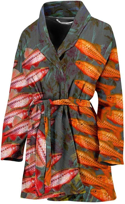 Cherry Barb Fish Print Women's Bath Robe