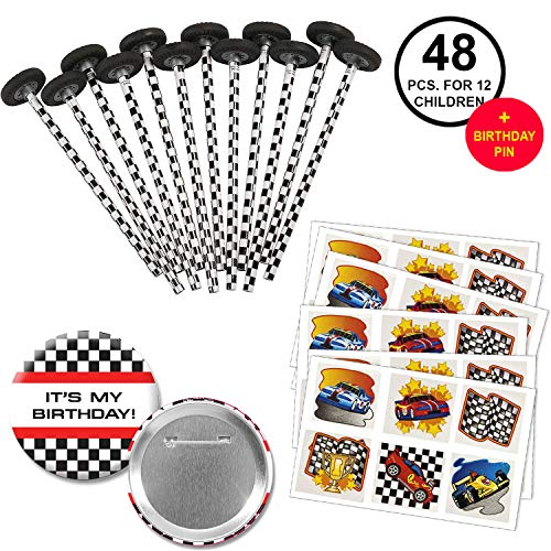 Race Car Racing Favors Checkered Race Car Pencils with Tire Eraser Toppers and Racing Tattoos Party Supplies Pack for 12