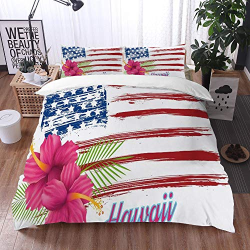 Mingdao Bettwäsche-Set, Mikrofaser,Hawaii Flagge Rosa Hibiskus Blumen auf Grunge USA Flagge 1 Bettbezug 240 x 260 cm + 2 Kopfkissenbezug 50x80cm