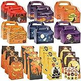 icyant 24 cajas de cartón para dulces de Halloween, bolsas de regalo de papel para niños con truco o trato, cajas de dulces de galleta de casa embrujada con pegatinas, araña, brujas
