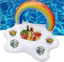 ZFAYFMA Titular de la Taza Inflable, Bandeja de Almacenamiento de Alimentos flotantes de la Piscina, Fruta Beber la Mesa de la Mesa de la Playa Natación del Arco Iris Nube v
