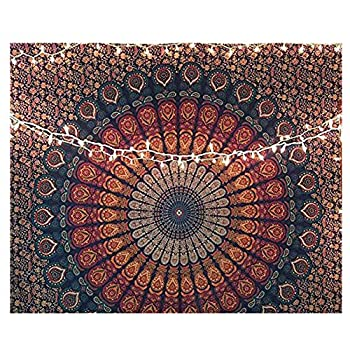 helegeSONG Christmas Tapestry Mandala Flower Print Wall Hanging Carpet Xmas Gift Party Blanket Mat Home Living Room Decor 5 9573cm