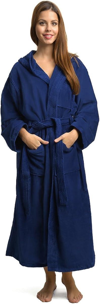 100/% algod/ón, 440 g//m/², con capucha Ongemo Albornoz de rizo para mujer