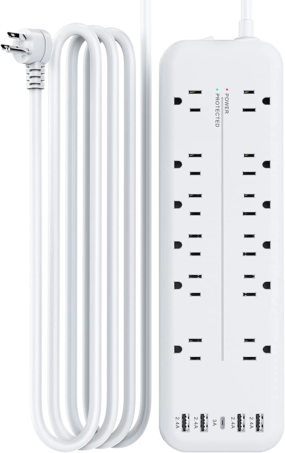 Power Strip 12AC Outlet 4USB+1Type-C Power Strip with 6 Feet Long Extension Cord Surge Protection Outlet Strip Overload Surge Protection for for Home and Office