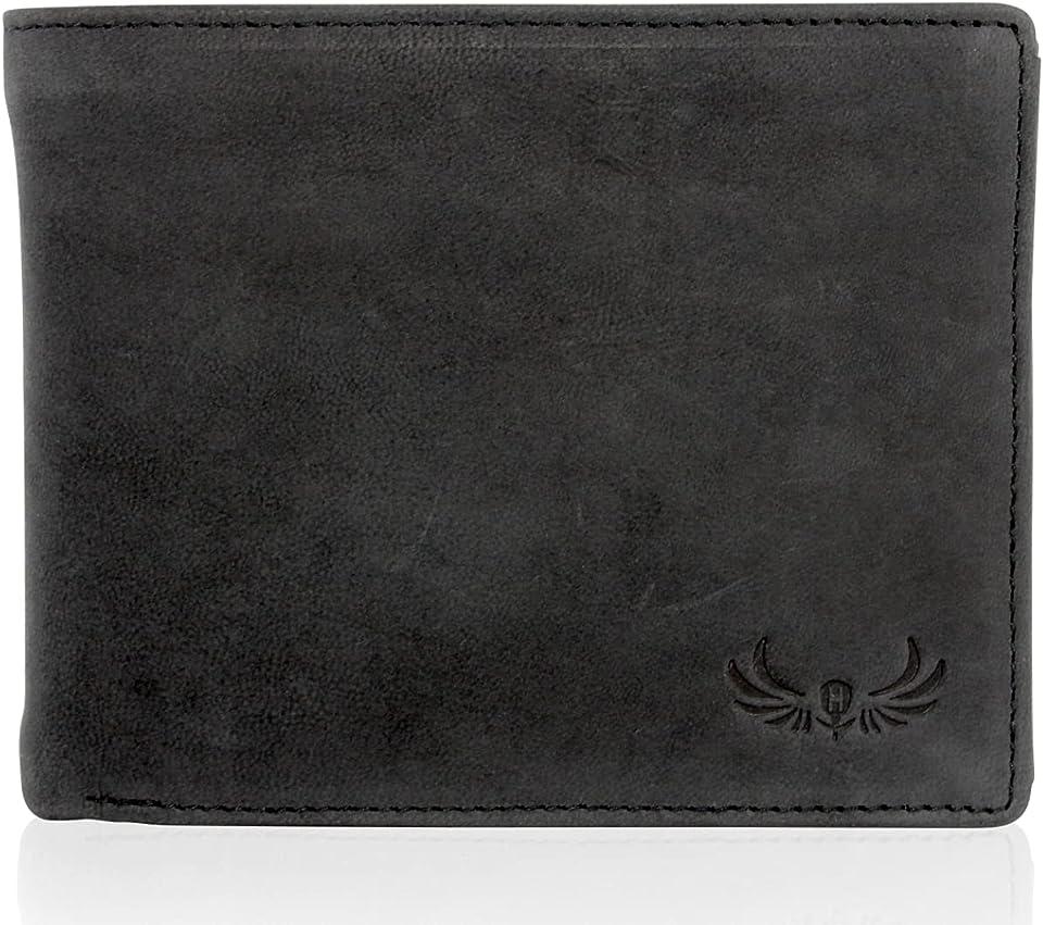 Geldbörse mit RFID Schutz - Klassisches Portemonnaie - Geldbeutel aus echtem Nubuk Leder - Portmonee für Herren Vintage Schwarz