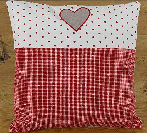 matches21 Cushion Cover Home Textiles Country House Premium ROSI Checked Red & Border White Red Dots & Heart 40 x 40 cm Pack of 1