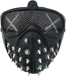Cosplay of Watch Dogs 2 Mask Marcus Wrench Plastic Rivet Mask Cool Halloween Party Cosume (Black)