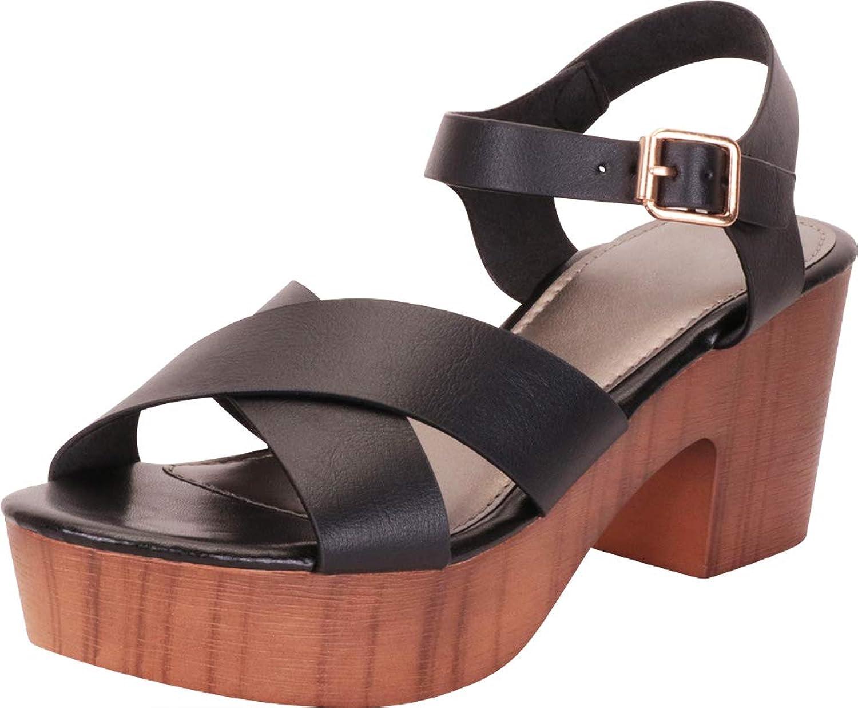 Cambridge Select Women's Retro 70s Clog Crisscross Strappy Chunky Platform Block Heel Sandal