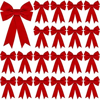 Set of 24 Velvet Red Bows 5 x 7 inch